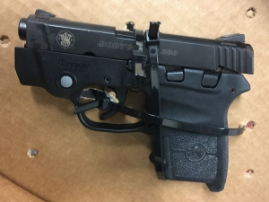 TSA officers at ALB detected this loaded .380 caliber handgun in a pilot's carry-on bag on Monday, April 17. He was arrested by airport police.