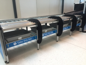 Automated security screening lanes in Terminal 8 at John F. Kennedy International Airport.