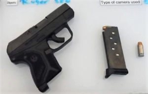 This loaded .380 caliber semi-automatic handgun was detected by TSA officers in a man's carry-on bag Friday, April 20, at Buffalo-Niagara International Airport. (Photo courtesy of TSA.)