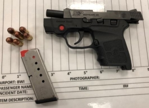 TSA officers at BWI International Airport detected this loaded handgun in a traveler's carry-on bag on march 22nd. It was the 10th gun caught at the airport so far this year. The man was arrested by police. (TSA photo)