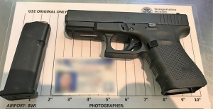 TSA officers prevented a Maryland man from bringing this loaded gun onto an airplane Saturday, April 7, at BWI Airport. (Photo courtesy of TSA.)