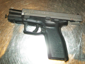 TSA officers prevented a man from bringing this handgun onto an airplane on Thursday at BWI Airport.