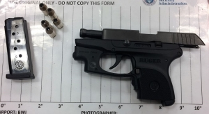 TSA officers prevented a woman from bringing this handgun onto an airplane on Thursday, June 29, at BWI Airport. (Photo courtesy of TSA.)