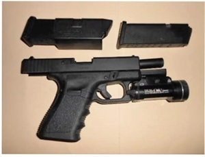 Gun and extra magazine that were detected by a TSA officer at the CHO Airport checkpoint Monday, April 9.