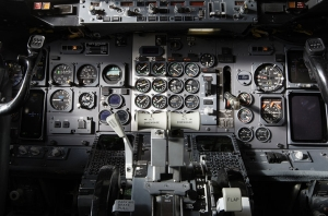 Interior of airplane cockpit