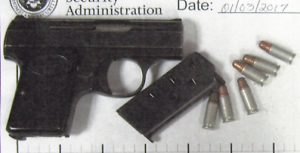 A man brought this loaded .25 caliber handgun to the Yeager Airport checkpoint on Tuesday, January 3. (TSA photo.)