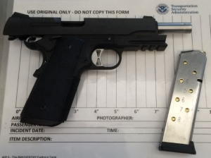 This handgun was detected by TSA officers at a BWI Airport checkpoint in July 2016. (Photo courtesy of TSA.)