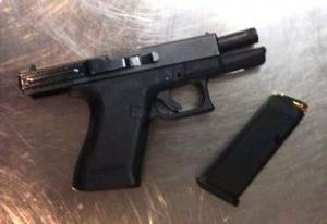 This loaded .40 caliber semi-automatic handgun was stopped by TSA officers at a Newark Liberty International Airport checkpoint on Monday. (TSA photo)