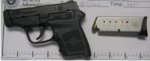 Handgun discovered by TSA.