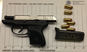 A Fredericksburg, Virginia, woman was stopped by TSA officers at the IAD Airport checkpoint carrying this loaded semi-automatic handgun.