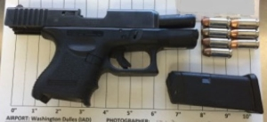 TSA officers prevented a man from bringing this loaded handgun onto an airplane Monday at Dulles Airport.