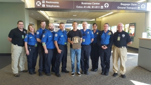 Several members of the TSA workforce at Albany International Airport got a close-up personal look at the newly minted bronze plaque of the National Baseball Hall of Fame's most recent inductee, Ken Griffey Jr. when Hall of Fame President Jeff Idelson (center) flew out of ALB on his way to Seattle.