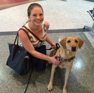 Katie Garoni with TSA canine Jurgens at Houston's William P. Hobby Airport