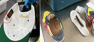 A razor blade tucked behind the hat's size label (left) and a straight-edged razor along with a small bottle of cologne hidden under the sole of a shoe, were caught by TSA officers at LaGuardia Airport on Monday. Both travelers were detained by police. (TSA photos)