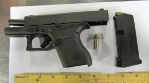 TSA officers at Pittsburgh International Airport prevented a man from bringing this loaded semi-automatic handgun onto an airplane Saturday, Sept. 29. (TSA photo)