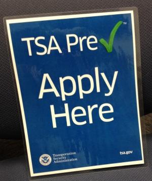 TSA Pre Check sign.