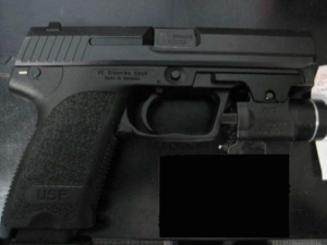 This 9 mm firearm was discovered by TSA officers at Quad City International Airport April 22. (Photo courtesy of TSA)