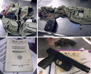 They were only props for an action-game, but the replica suicide vest and guns found alongside an old military manual on incendiary devices, got the attention of TSA and law enforcement officials when they were detected inside a checked bag at Richmond International Airport on Saturday, October 22nd. (TSA photo)