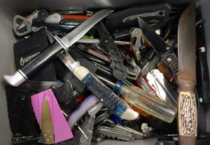 A peak inside a box of prohibited items that TSA officers at North Central West Virginia Airport (CKB) have caught at the checkpoint.